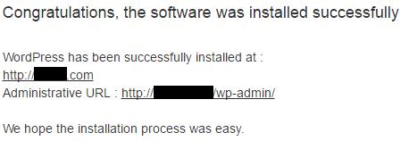WordPress Installation is Successful Message