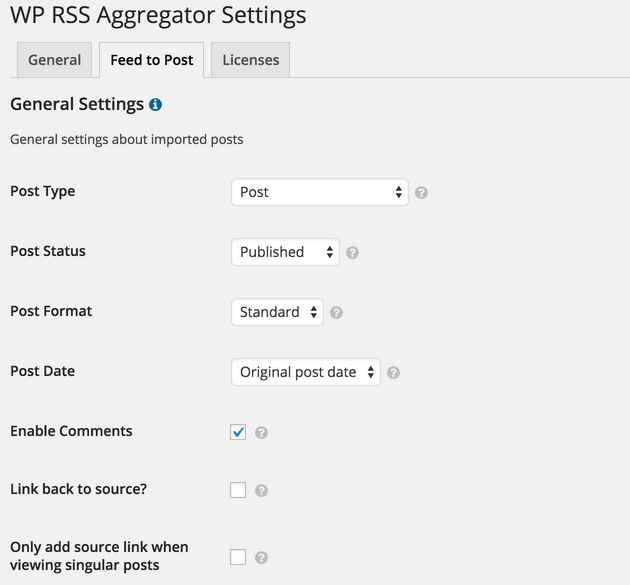WP RSS Aggregator - Feed to Posts, Custom Post Type Options