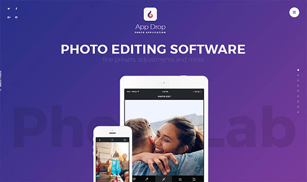App Drop - Photo Editing Application WordPress Theme