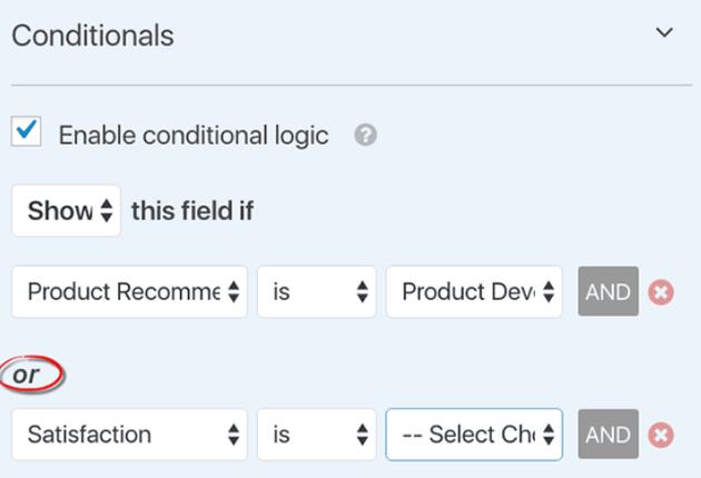 WPForms - OR Conditional Logic