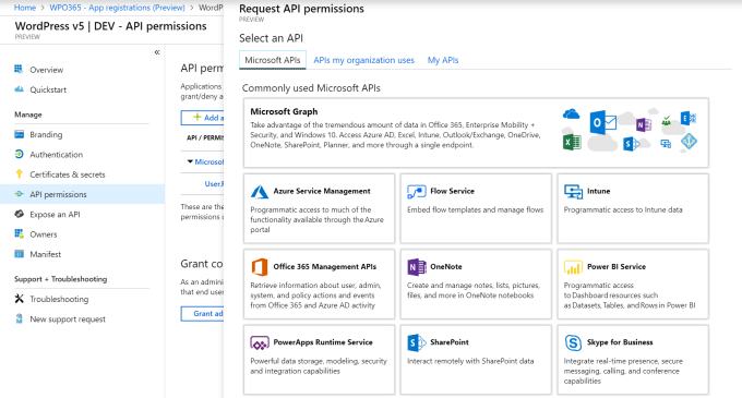 Azure Application Registration - WordPress + Office 365
