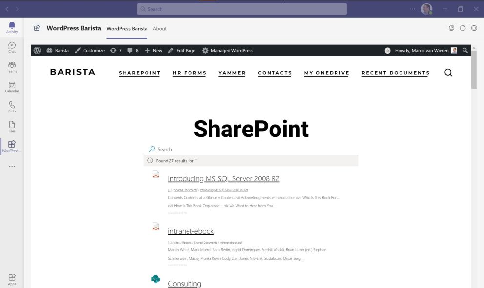 Embedded WordPress for Microsoft Teams