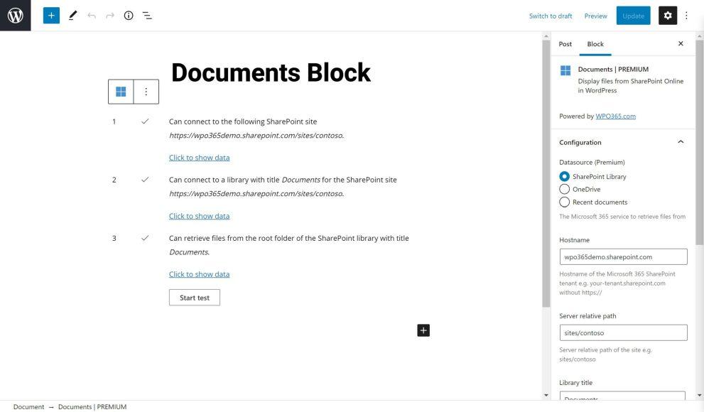 Gutenberg block for embedding SharePoint documents in WordPress