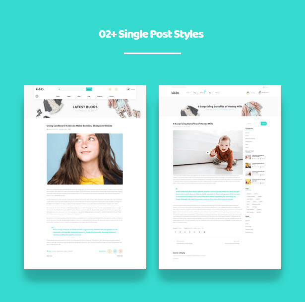 02+ Dedicated Single Post Styles Kiddo Fashion WooCommerce WordPress Theme for Baby Kids