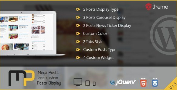 Mega Posts and Custom Posts Display WP Plugin
