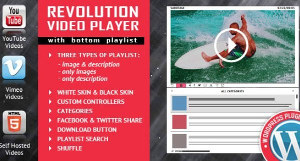 Revolution Video Player With Bottom Playlist