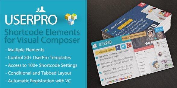 UserPro Shortcode Elements for Visual Composer