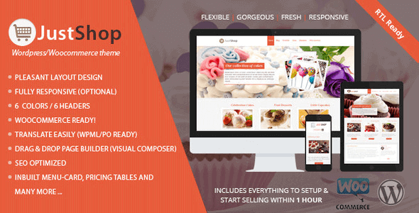 Justshoppe - Elementor Cake Bakery WordPress Theme
