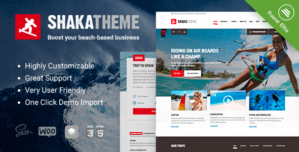 Shaka - A beach business WordPress theme for water sport and activity schools