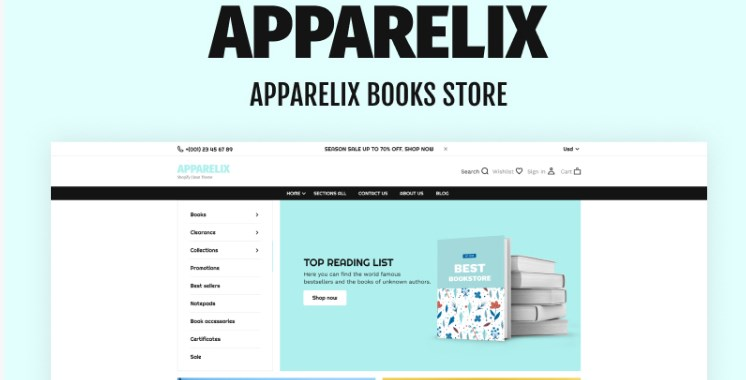 TM Apparelix Books Online Store Template Shopify Theme
