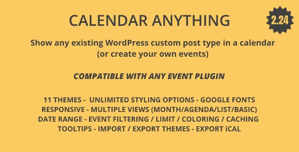 Calendar Anything | Show any existing WordPress custom post type in a calendar