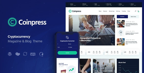 Coinpress ICO Cryptocurrency Magazine - Blog WordPress Theme
