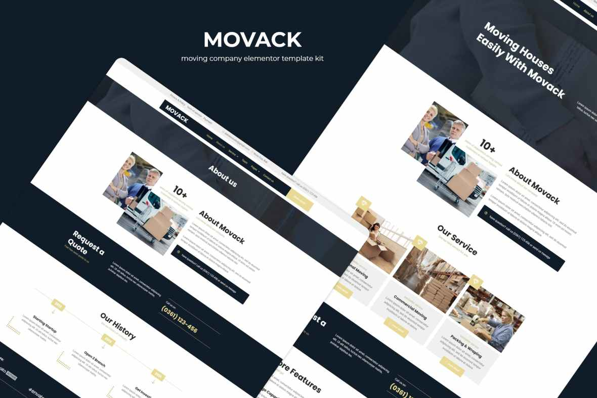 Movack - Moving Company Elementor Template Kit