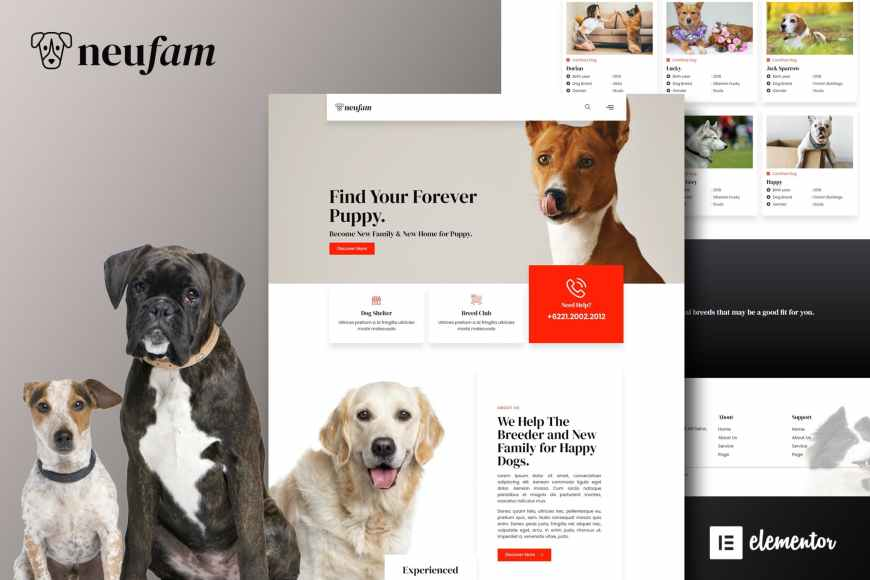 NeuFam - Dog Breeder - Kennel Club Elementor Template Kit