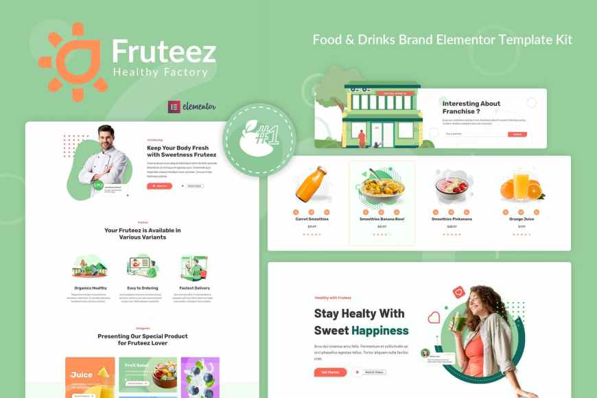 Fruteez - Healthy Food - Drinks Brand Elementor Template Kit