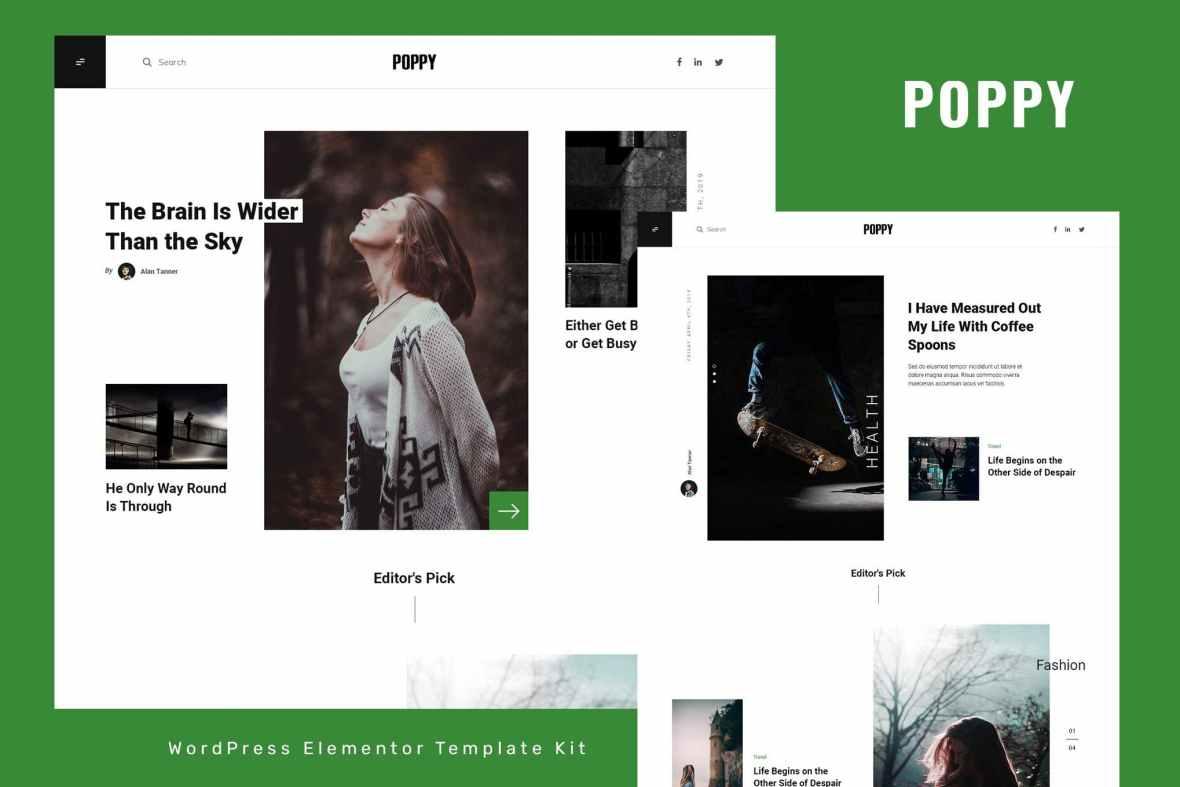 Poppy - Blog - Magazine Elementor Template Kit