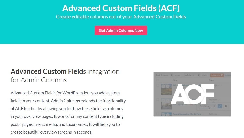 Admin Columns Pro - Advanced Custom Field (ACF) Addon