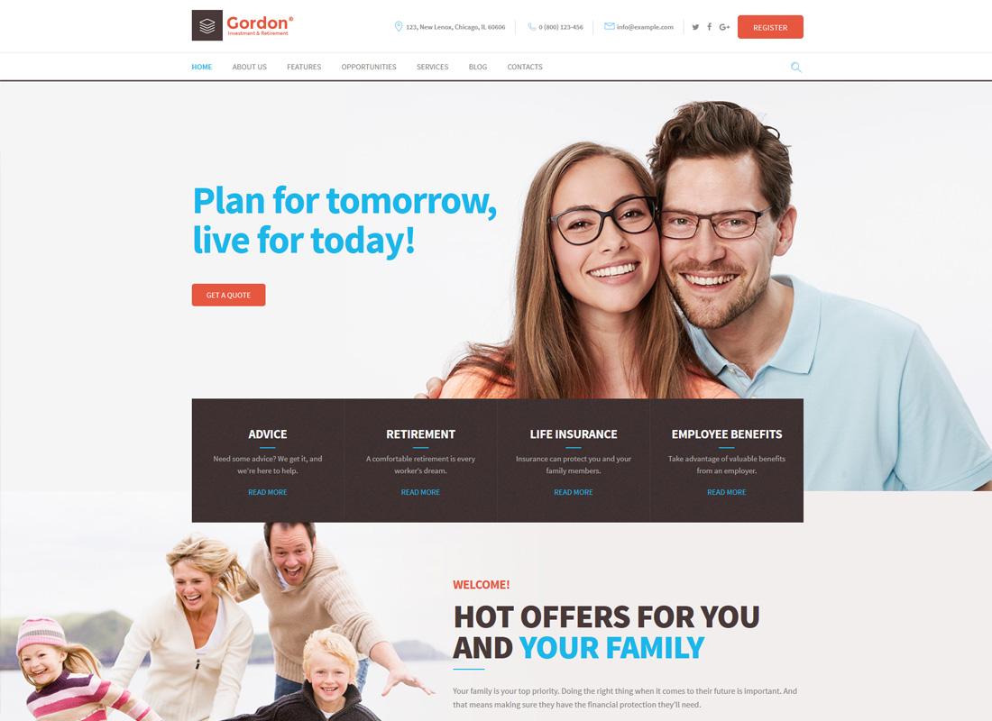 Gordon   Investments & Insurance Company WordPress Theme