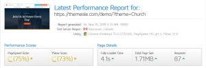Neva Theme GTmetrix Performance Report C (75%) C (73%)
