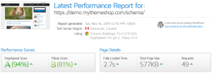 Schema Pro Theme GTmetrix Performance Report A (94%) B (81%)