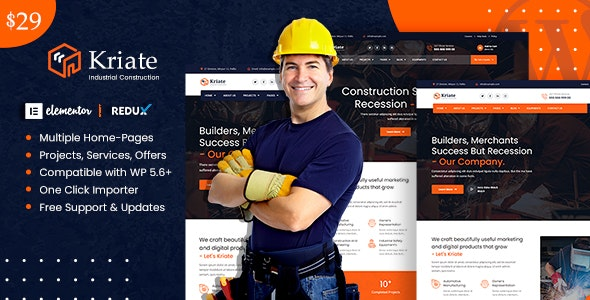 Kriate - Industrial Construction Multipurpose WordPress Theme
