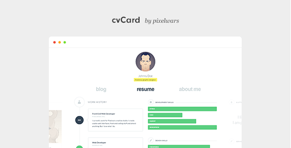 cvCard WP - Responsive vCard WordPress Theme Free