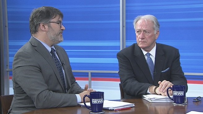 John Simmons (right), president and CEO of the Rhode Island, talks with Douglas Hall during a taping of WPRI's Newsmakers.