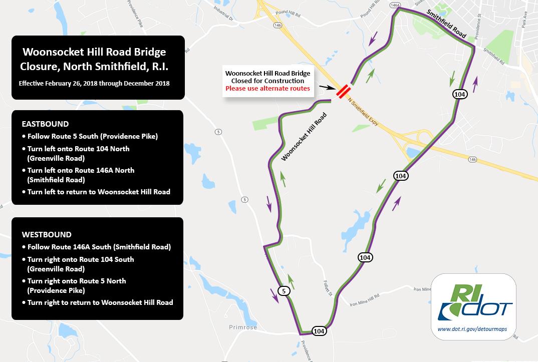 Woonsocket Hill Road Bridge Detour Starting Monday, February 26, 2018._649848