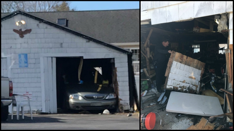 Raynham garage crash