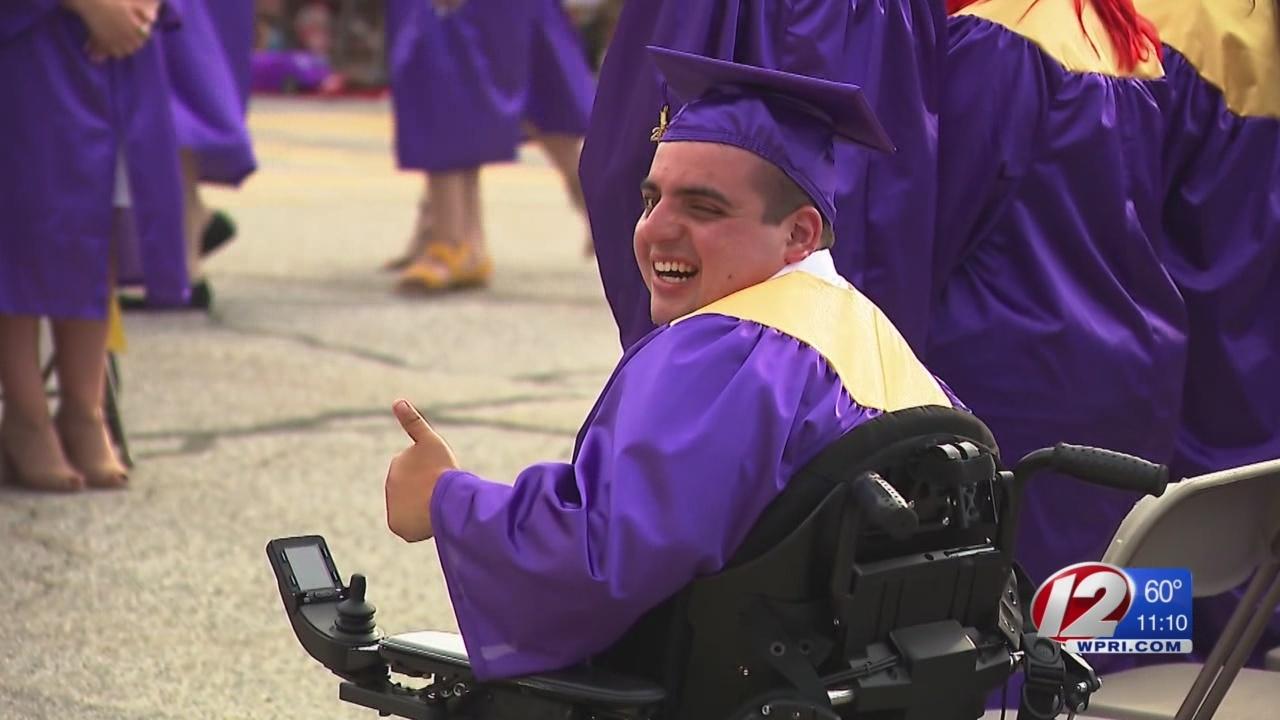 Blackstone teen takes a big step forward while receiving his diploma