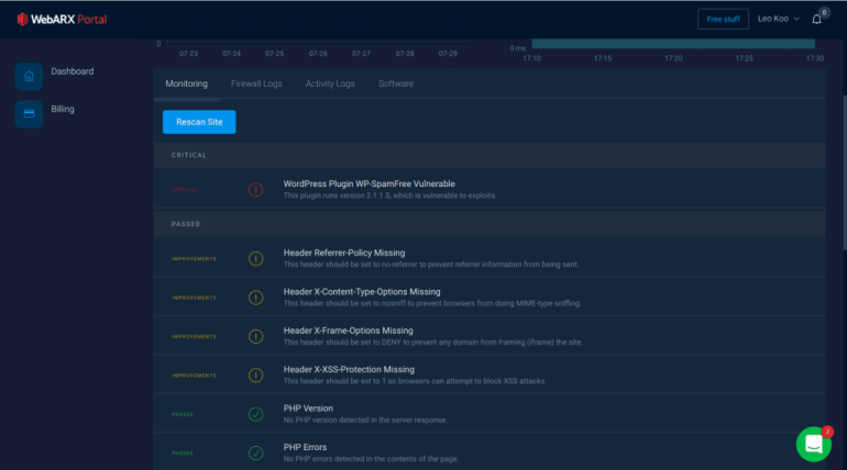 WebARX Review: WebARX let's you know of vulnerable plugins