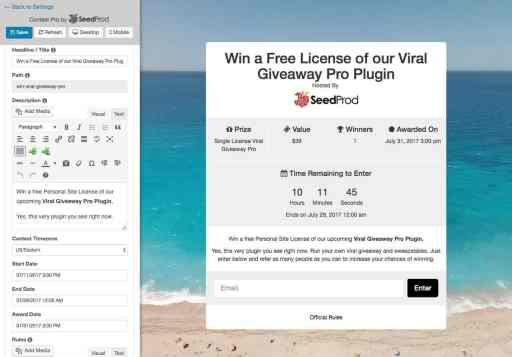 SeedProd's Viral Giveway Plugin (retired)