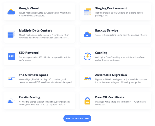 10Web's Google Cloud Managed WordPress Hosting
