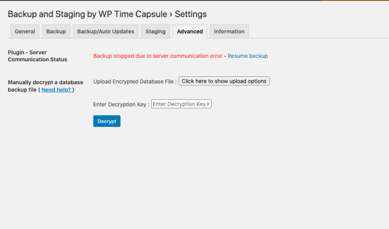 Easily find timed out updates with WP Time Capsule