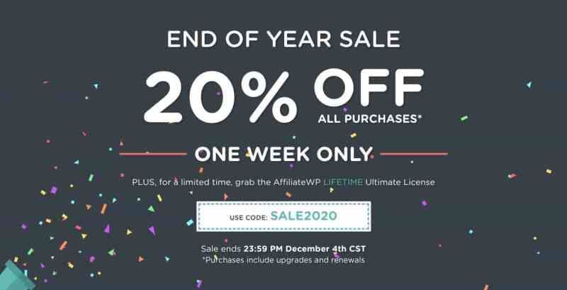 affiliatewp is back on lifetime only for black friday cyber monday 2020