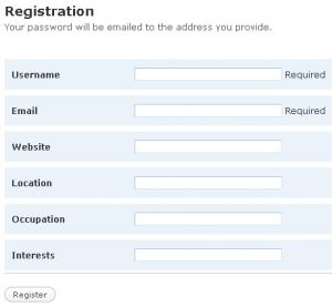 WordPress.org Registration Form