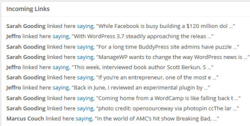 Incoming Links In WordPress 3.6.1