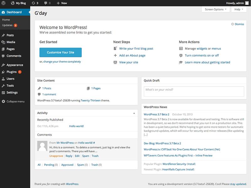 New Dashboard for WordPress