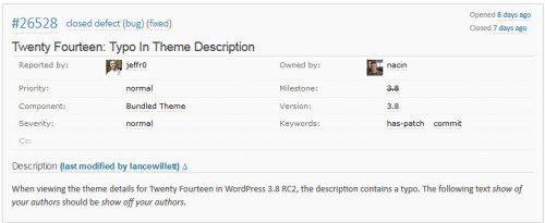 The Ticket I Created For WordPress 3.8