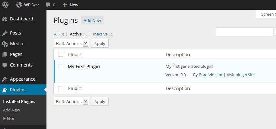 newly generated plugin