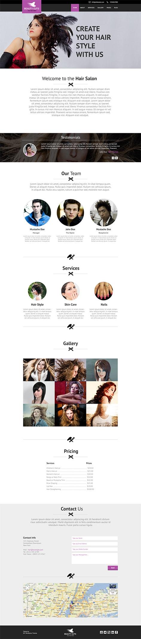 hair style WordPress theme