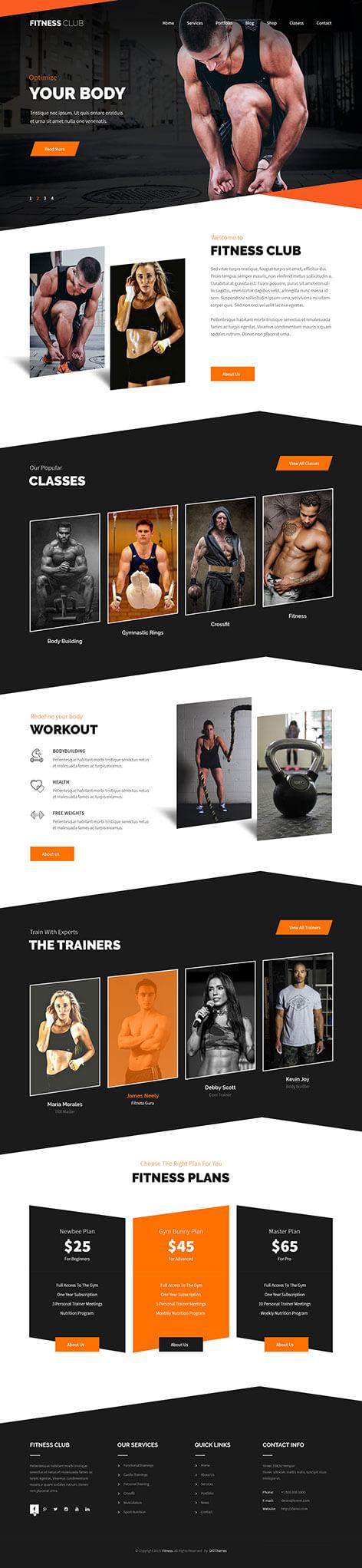 fitness life WordPress theme