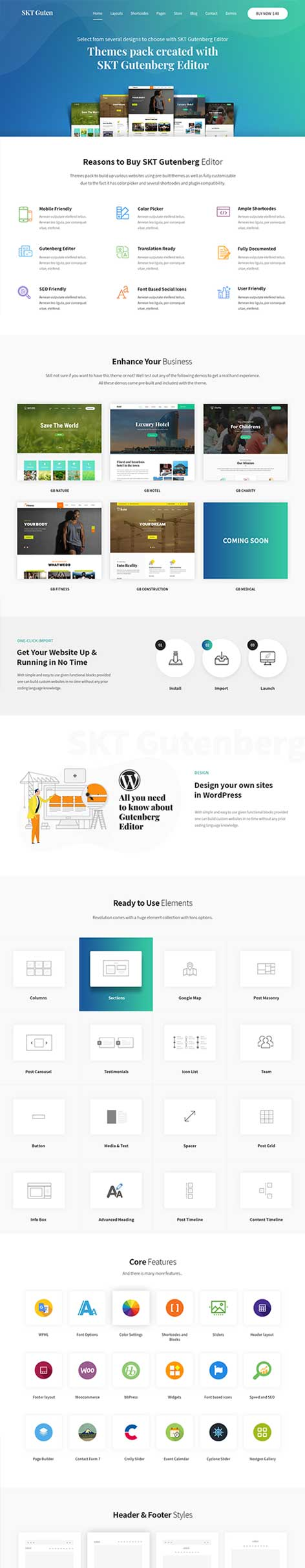 Gutenberg friendly WordPress theme