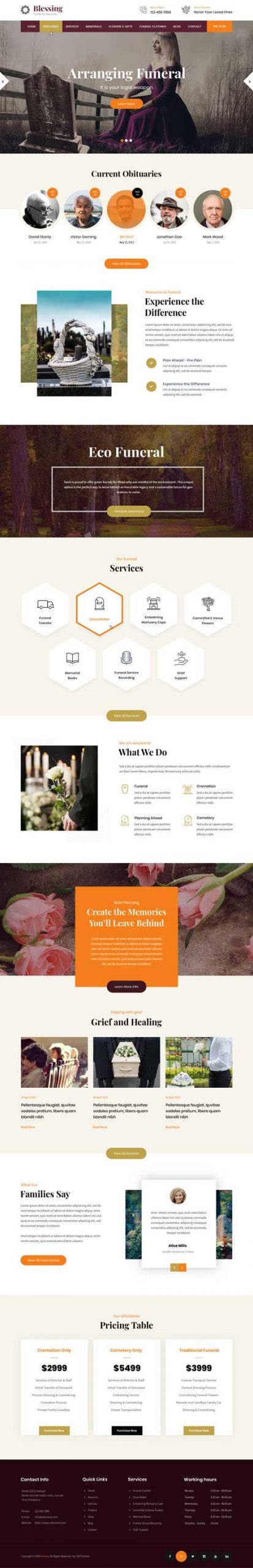 funeral service WordPress theme