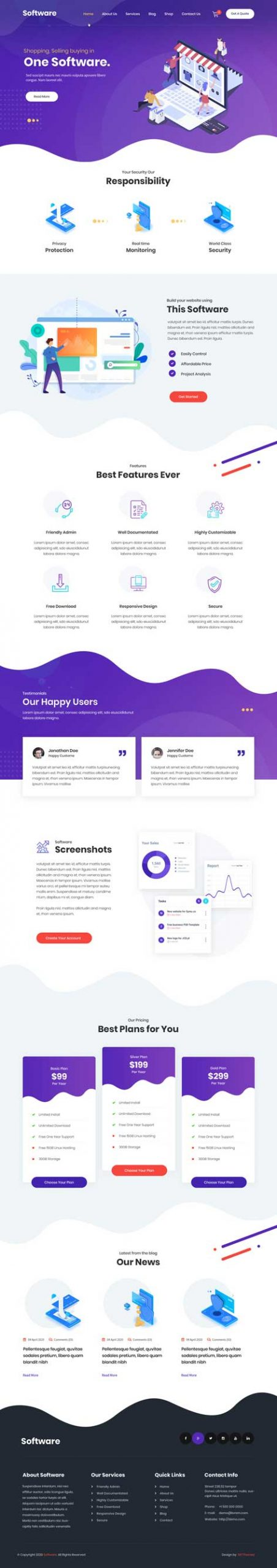 software service WordPress theme