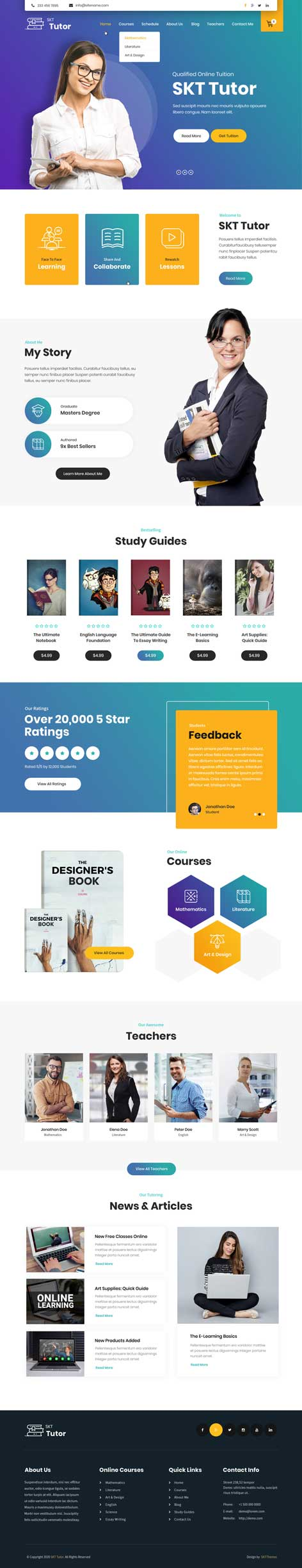 private tutor WordPress theme