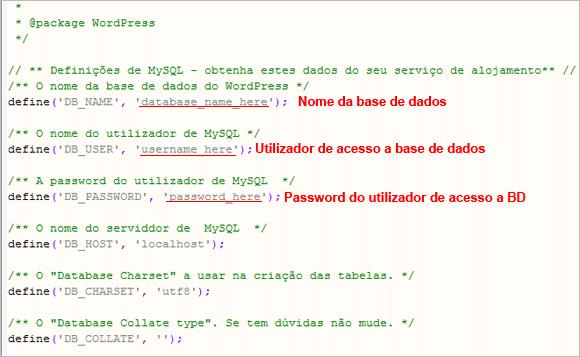 WP Config - Base de Dados