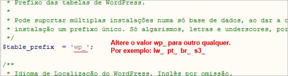 WP Config - Prefixo Base de Dados