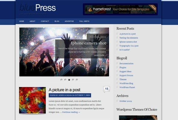 Bluepress 2.0 WordPress Template