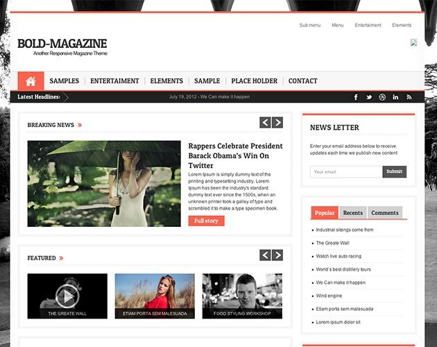 Bold Magazine Responsive WordPress Theme
